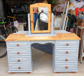Lovely dresser in grey with matching mirror & stool