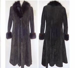 VINTAGE BLACK LEATHER SUEDE REAL FUR LONG WINTER COAT WOMENS M Made in Canada Excellent Full Length Canadian Seller FREE
