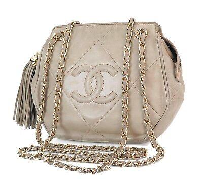 Authentic CHANEL Beige Lambskin Leather Fringe Tassel Chain Shoulder Bag #27166