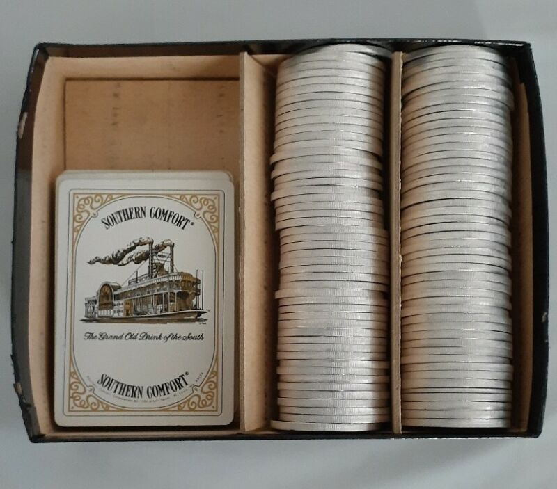 Lot of 97 Southern Comfort Steamboat Tokens Chips and Set of Cards Poker