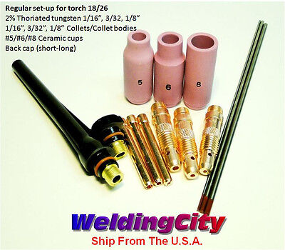 Tig Welding Torch 1826 Kit Ak3 Collet-cup-cap-tungsten 11618 Us Seller Fast