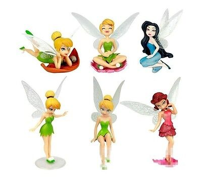 Tinkerbell Fairies Fairy Playset 6 Figure Cake Topper * USA SELLER* Toy Doll Set