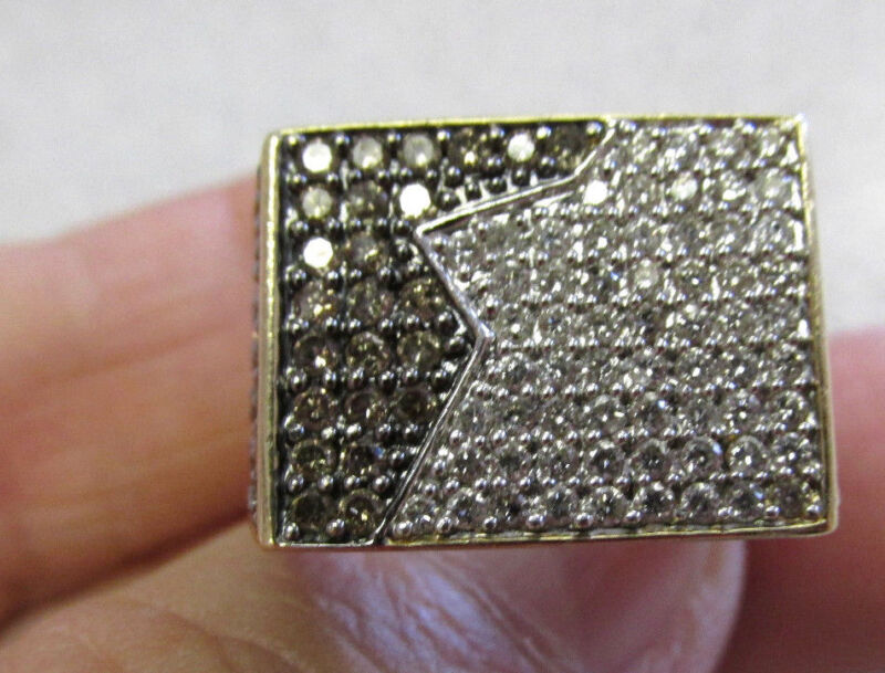 Must See Mens 14k Gold  Brown & White Diamond Ring 10  Make Offer