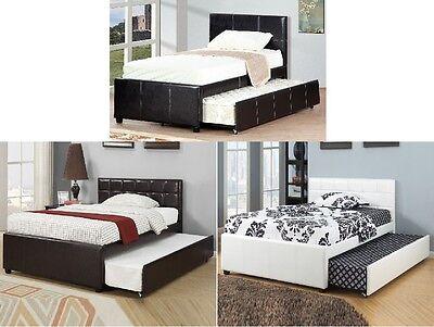 Espresso Full Platform (Modern Espresso/White Faux Leather Full Platform Bed With 12 Slats and Trundle )