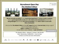 Hilton Hotels London - Food & Beverage Staff - Recruitment Open Day @ The Waldorf Hilton - 24 August