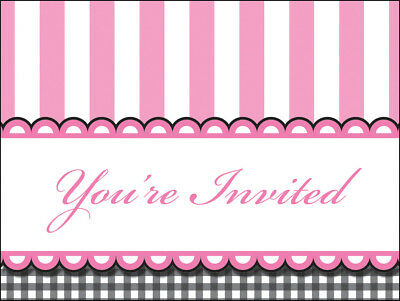 Pink And Black Baby Shower (Baby Shower Invites Invitations Girl Baby Feet Striped Pink Black Party)