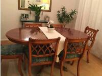 Classic Yew Dining Table And Chairs