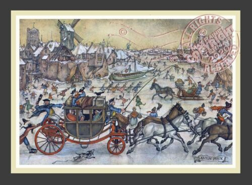 Winter Stage Coach Bustling City * Dutch Baroque Harbor * ANTON PIECK Art Print