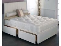 UK MANUFACTURED !! BRAND NEW KING SIZE DIVAN BED BASE WITH WHITE ORTHOPEDIC MATTRESS