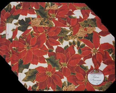 NWT POINSETTIA PINE CONE 4 FABRIC PLACEMATS SET CHRISTMAS HOLIDAY FLORAL DECOR