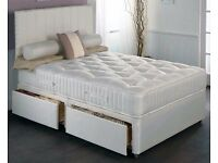 BRAND NEW KINGSIZE DIVAN BED WITH WHITE ORTHOPEDIC MATTRESS , HEADBOARD AND DRAWERS