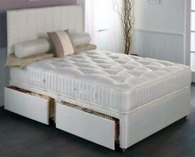 🔵⚫DOUBLE BED 🔵⚫3ft 4ft 6 5ft double or king divan bed with memory foam mattress plain headboard