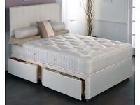 """4FT SMALL DOUBLE, 4FT 6 DOUBLE DIVAN BED WITH 9"""" SEMI ORTHOPAEDIC MATTRESS. HEADBOARD, DRAWERS."""