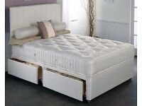 DOUBLE DIVAN BED WITH DEEP QUILTED MATTRESS