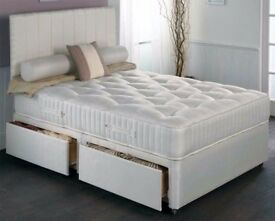🌷💚🌷STOCK CLEARANCE 🌷💚🌷50% SALE 🌷💚🌷 BRAND NEW DOUBLE DIVAN BED WITH DEEP QUILT MATTRESS