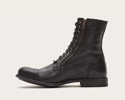 $449 NIB NEW Men's Frye Tyler Double Zip Cap Toe Combat Boots Shoes Black  - Black Combat Boots For Men