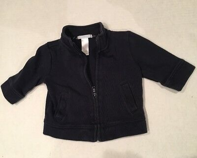 Janie and Jack Boys Size 6-12 Months Ribbed Knit Jacket Navy Blue Cotton