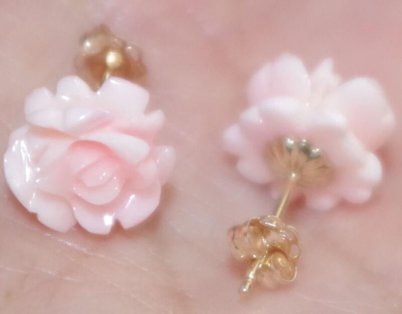 GEM QUALITY 14K  10MM CARVED ROSE FLOWER PINK ANGEL SKIN  CORAL STUD EARRINGS
