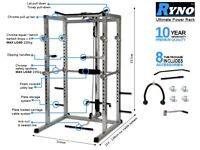 RYNO™ ULTIMATE POWER RACK SQUAT CAGE GYM w/LAT PULL DOWN / SEATED ROW / ARM CURL