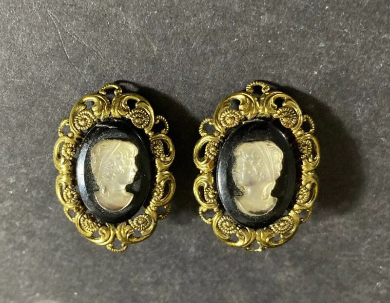 WEST GERMANY Vintage Earrings Black Cameo Faux Pearl Gold Tone Filigree Clip On