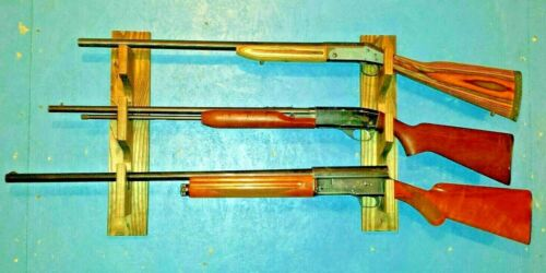 3 Gun Wall Rack Wood for Shotgun/Rifle/Muzzleloader/Flint Lock/Lever Action Hunt