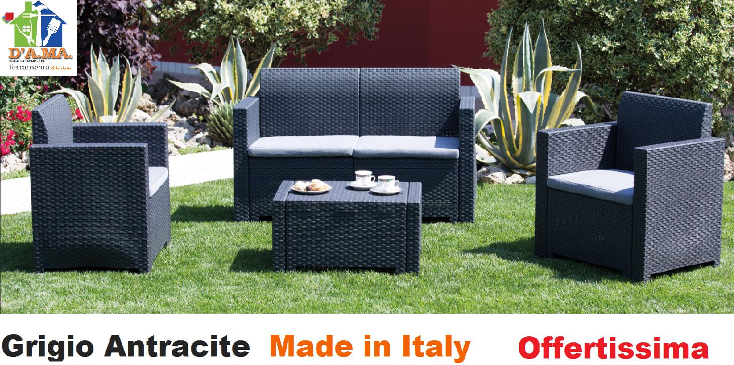 Salotto per esterno giardino in Rattan moderno divano poltrone tavolo e cuscini