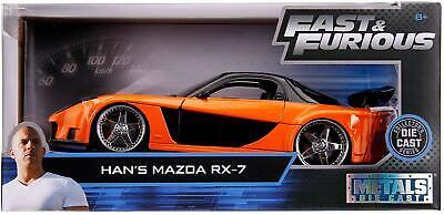 Fast & Furious Han's Mazda RX-7 Orange Jada 1:24 30732 Diecast Model Car Movie