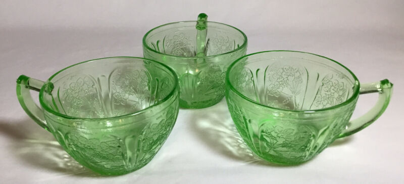 3 Vintage Jeannette Glass Company Green Cherry Blossom Tea Cup Uranium Glass