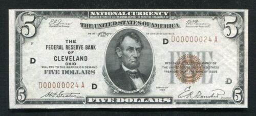 """FR. 1850-D 1929 $5 FRBN FEDERAL RESERVE BANK NOTE """"LOW SERIAL # D00000024A"""" UNC"""