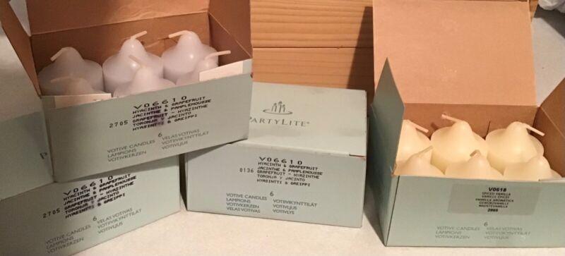 Partylite Votive Candles 4 Boxes = 18 HYACINTH & GRAPEFRUIT & 6 FRENCH VANILLA