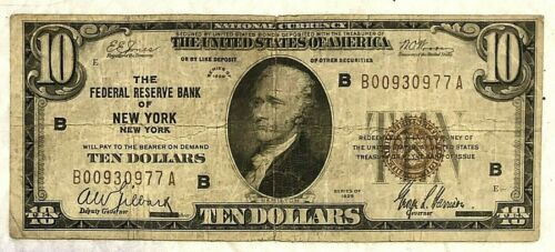 1929 $10 National Currency Note New York, NY - XF+