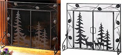 """Pines~Deer~Pine Cones ** WOODLAND FOREST  FIREPLACE SCREEN *38"""" W x 31.2""""H* NIB"""