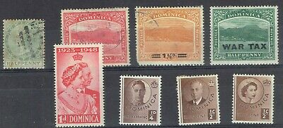 Dominica.  Nice selection from Victoria to QEII.  3 used & 5 Mint stamps.