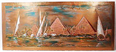 Wandbild 70er Jahre Pyramiden Boote Ägypten  W. Werner - Geprägte Kupfer-Malerei