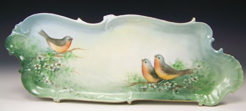 "VINTAGE HAND PAINTED BIRDS GOLD GILT 16"" CELERY TRAY DISH 1905-1910 SIGNED"