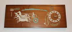 Mid Century Modern Wall Clock/Art Roman Chariot Horses Working