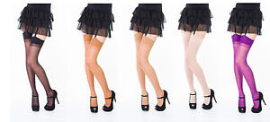 Plain-Top-Sheer-Stockings-One-Size-Plus-Size-Various-Colours