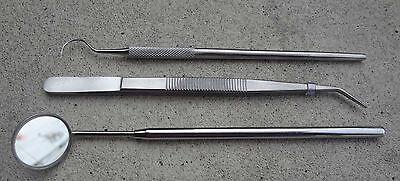 Basic Dental Instruments Set Mouth Mirror Explorer 5 Cotton Plier