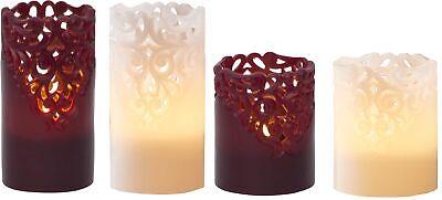 LED Kerze weiß o. rot Wachs Rankendesign 6/18h Timer warmweiß flackernd 10/15cm