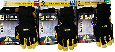 Holmes Winter Goatskin Leather Work Gloves 3m Insulation Water Resistant 2 Pairs