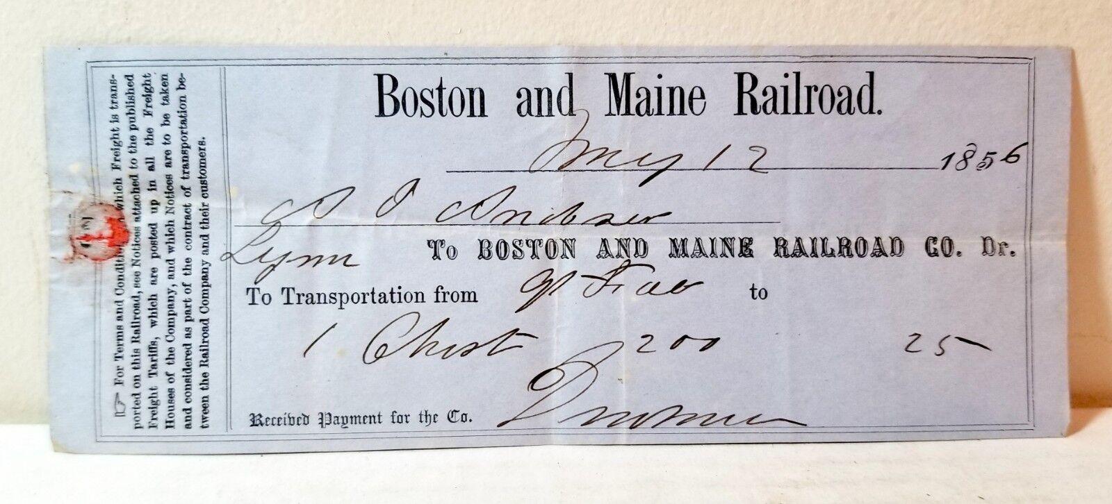 Rare 1856 Boston and Maine Railroad BandM luggage voucher/ticket; train history