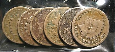 RUN OF 6   1859 TO 1864 CN INDIAN CENTS   DAMAGED NO HOLES