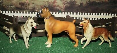 Breyer 1950's Dog Lot of 3 LASSIE COLLIE, RIN TIN TIN GERMAN SHEPHERD & BOXER !!
