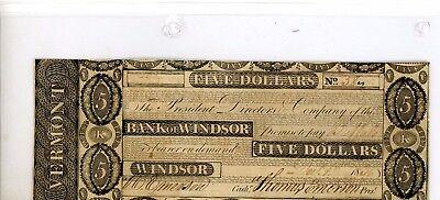 "WINDSOR,  ""VERMONT"" 1837  $5  Bank of Windsor"