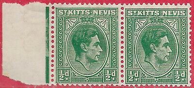 St Kitts-Nevis 1943 1/2d  blue-green marginal pair sg 68a MH stamps MNH