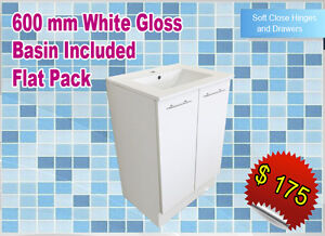 Flat Pack Bathroom Vanity Floor Standing 600 mm White Gloss + Ceramic Basin Incl