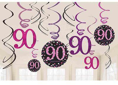 Wandbehang Wirbel Schwarz & Rosatöne Partydekorationen (90 Th Geburtstag)