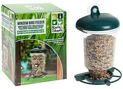 WINDOW BIRD FEEDER HANGING SUCTION TABLE SEED PEANUT PERSPEX CLEAR VIEWING