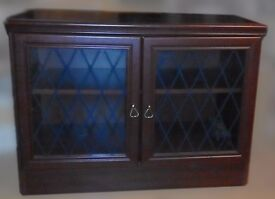 Dark Wood Leaded Glass fronted Cabinet 4' x 3' x 2' ( approx ) - £10