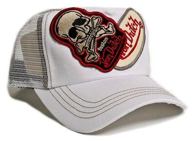 VON van DUTCH MESH TRUCKER CAP [2 PATCH SKULL WHITE] HUT MÜTZE BASE BASEBALL BAS Patch Trucker Hut